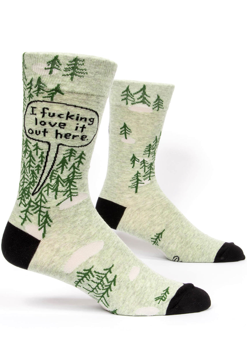 "Funny men's swear word socks with trees and the words ""I fucking love it out here."""