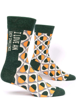 "Take on the world in these men's socks that say ""I Love An Easy Challenge."""