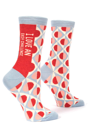 "Funny words socks for women that say ""I Love An Easy Challenge"""