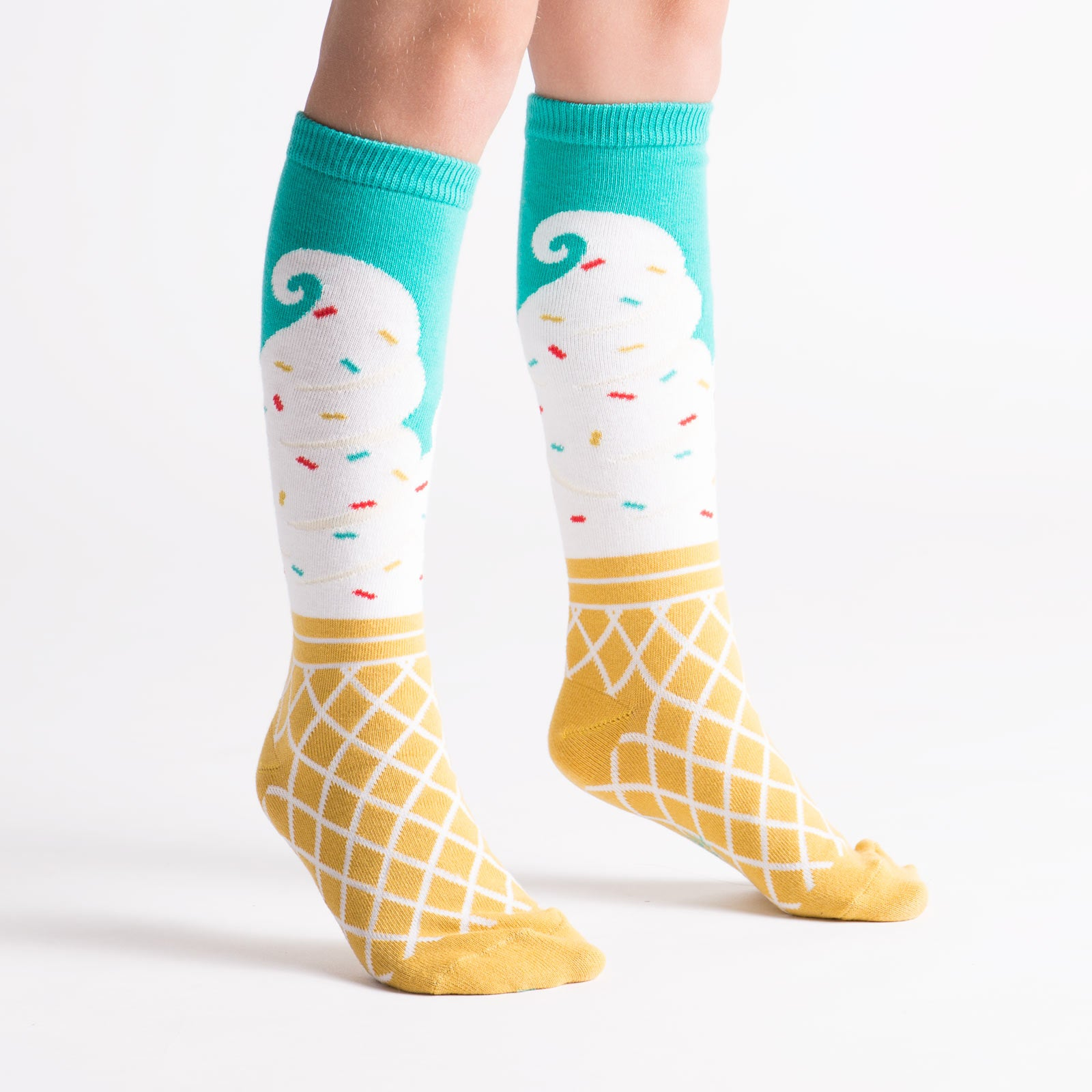 These kids' knee socks with ice cream cones are a sweet way to kick and lick!