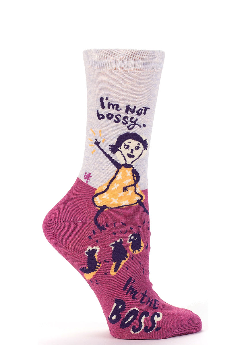 A fearless leader commands her critters on these women's crew socks fit for a boss.