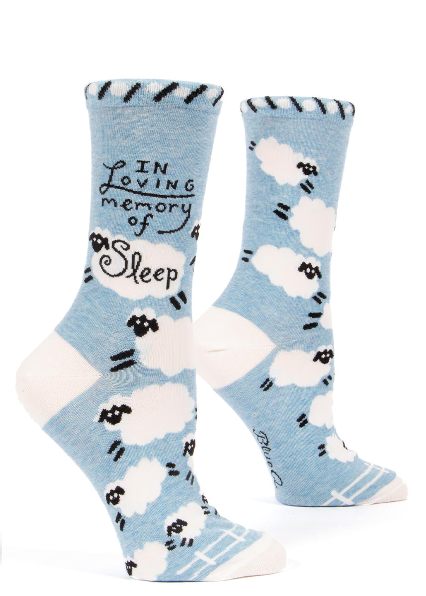 "Funny socks for women say ""In loving memory of sleep"" and are covered in fluffy white sheep!"