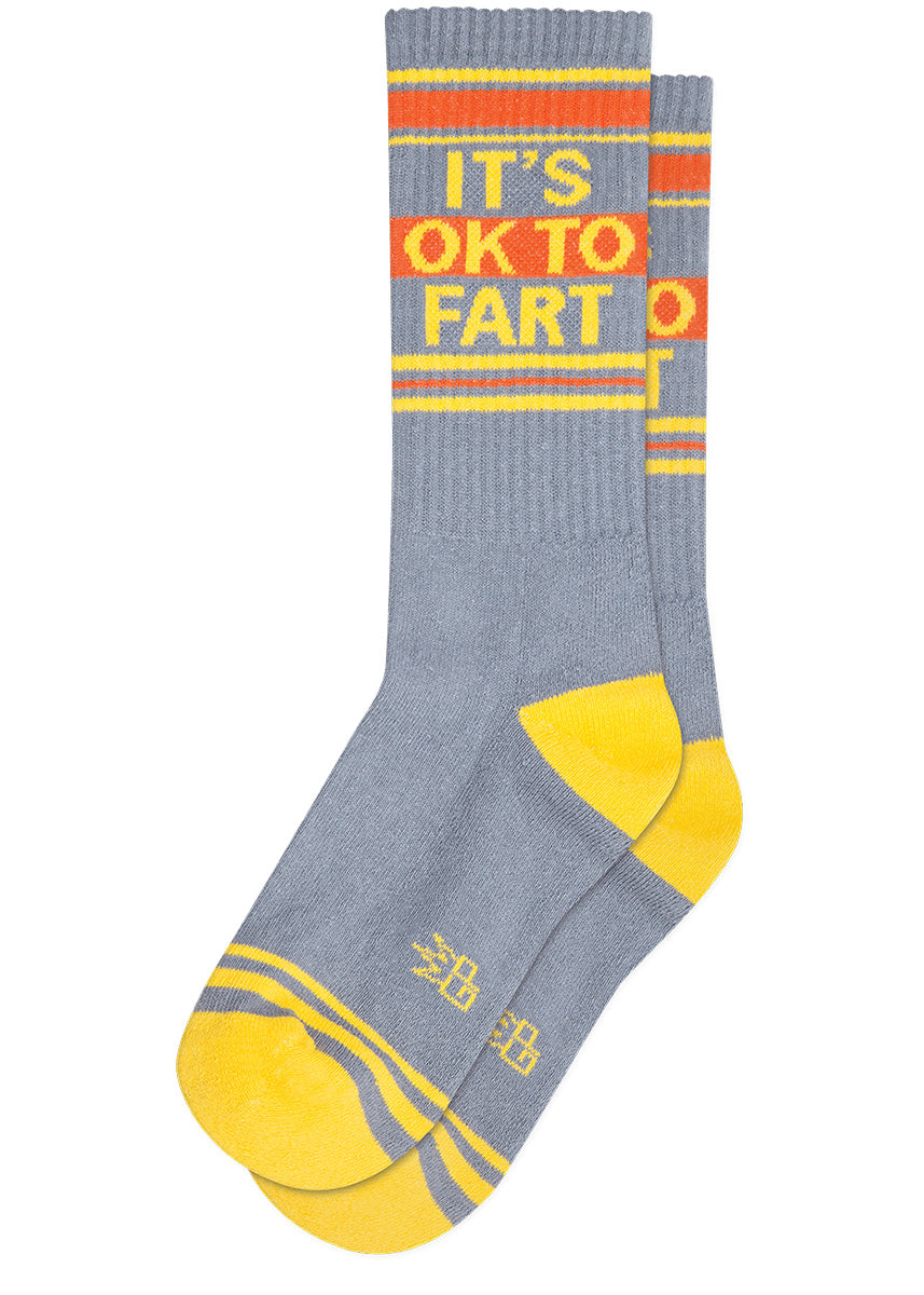 "Funny fart socks with the words ""It's OK to Fart"""