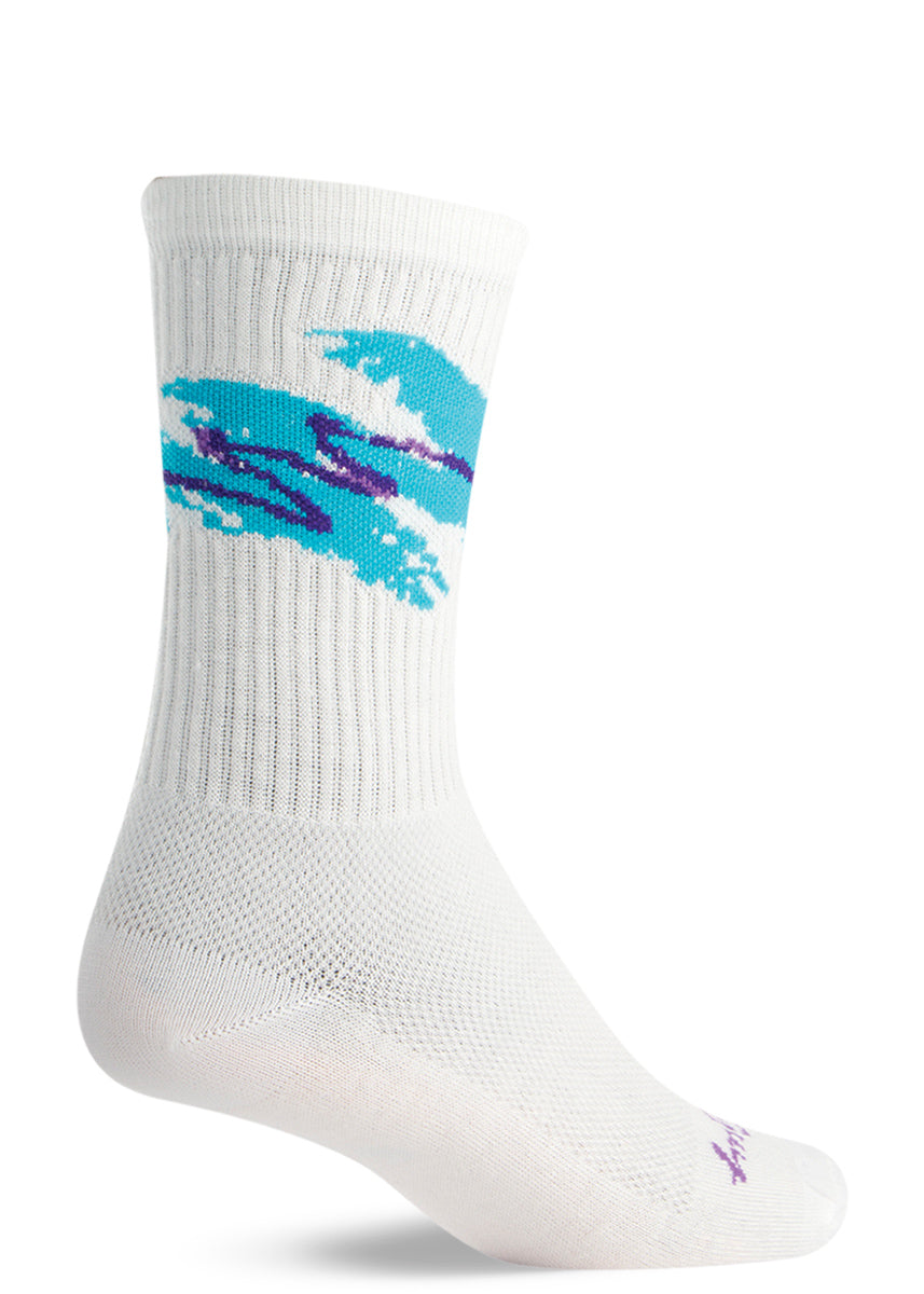 Jazz cup socks with 90s cup pattern with teal and purple swishes on a white background