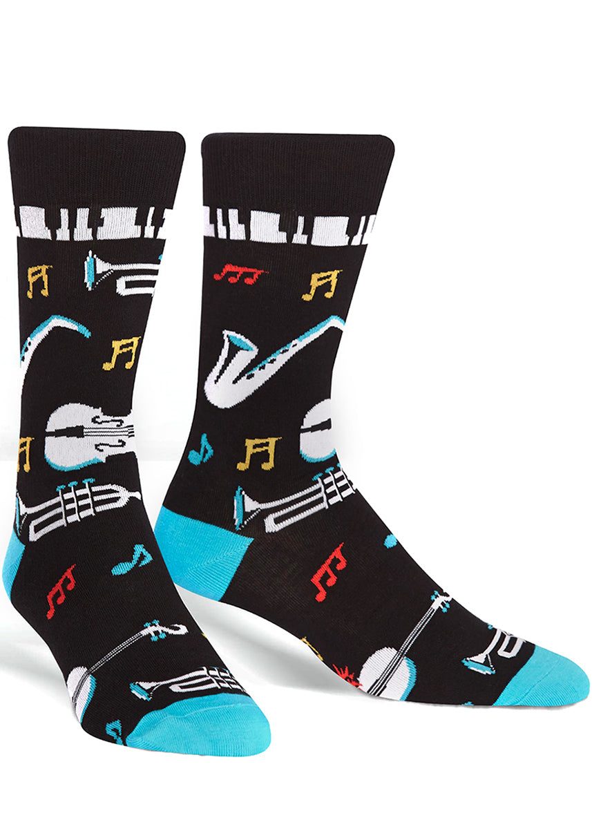 Bust out the horns and tickle the ivories with All That Jazz crew socks for men.