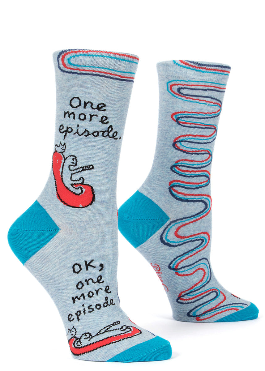 One More Episode TV socks for women with a person and a cat watching TV