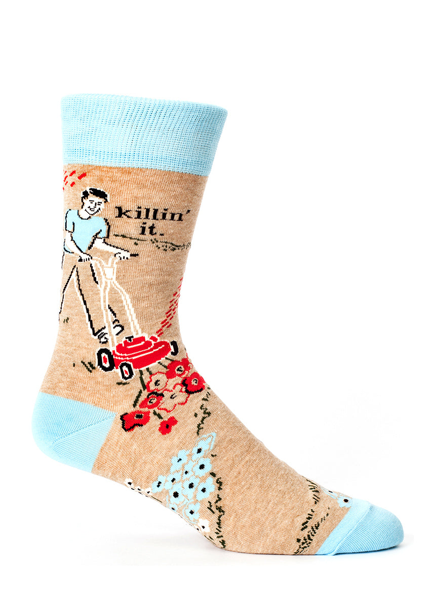 "Funny men's socks that say ""Killin' it"" with a man mowing the lawn on brown socks"
