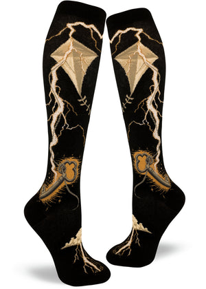 Knee-high women's lightning socks with Benjamin Franklin's kite experiment showing electricity, keys and kites