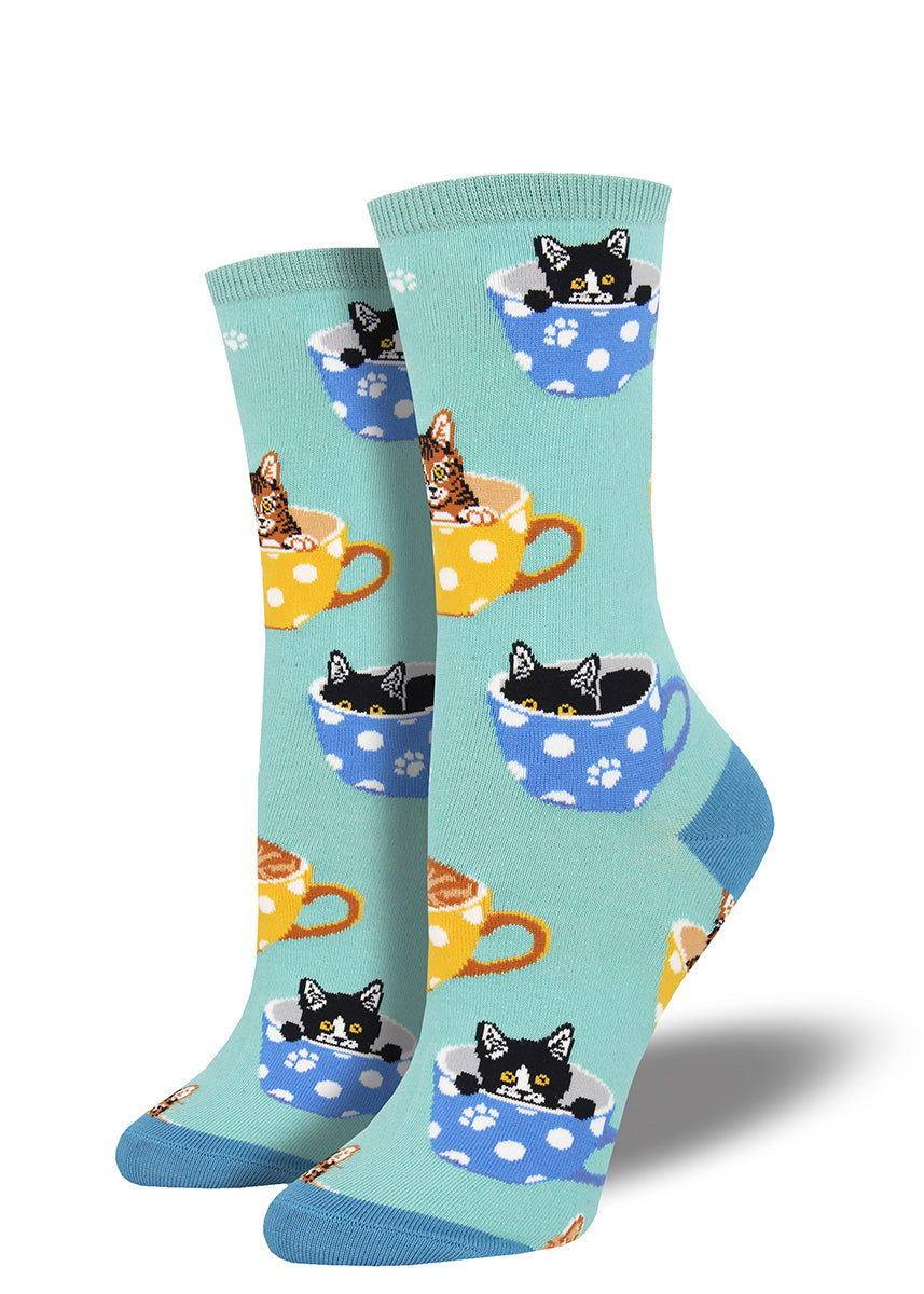 Cute kittens sit in teacups on these cat socks for women.