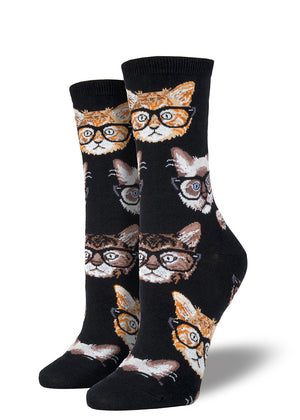 Hipster cats wear glasses on these too cool cat socks for women.