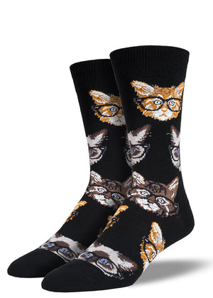 Cats with glasses socks for men with nerdy cats wearing glasses