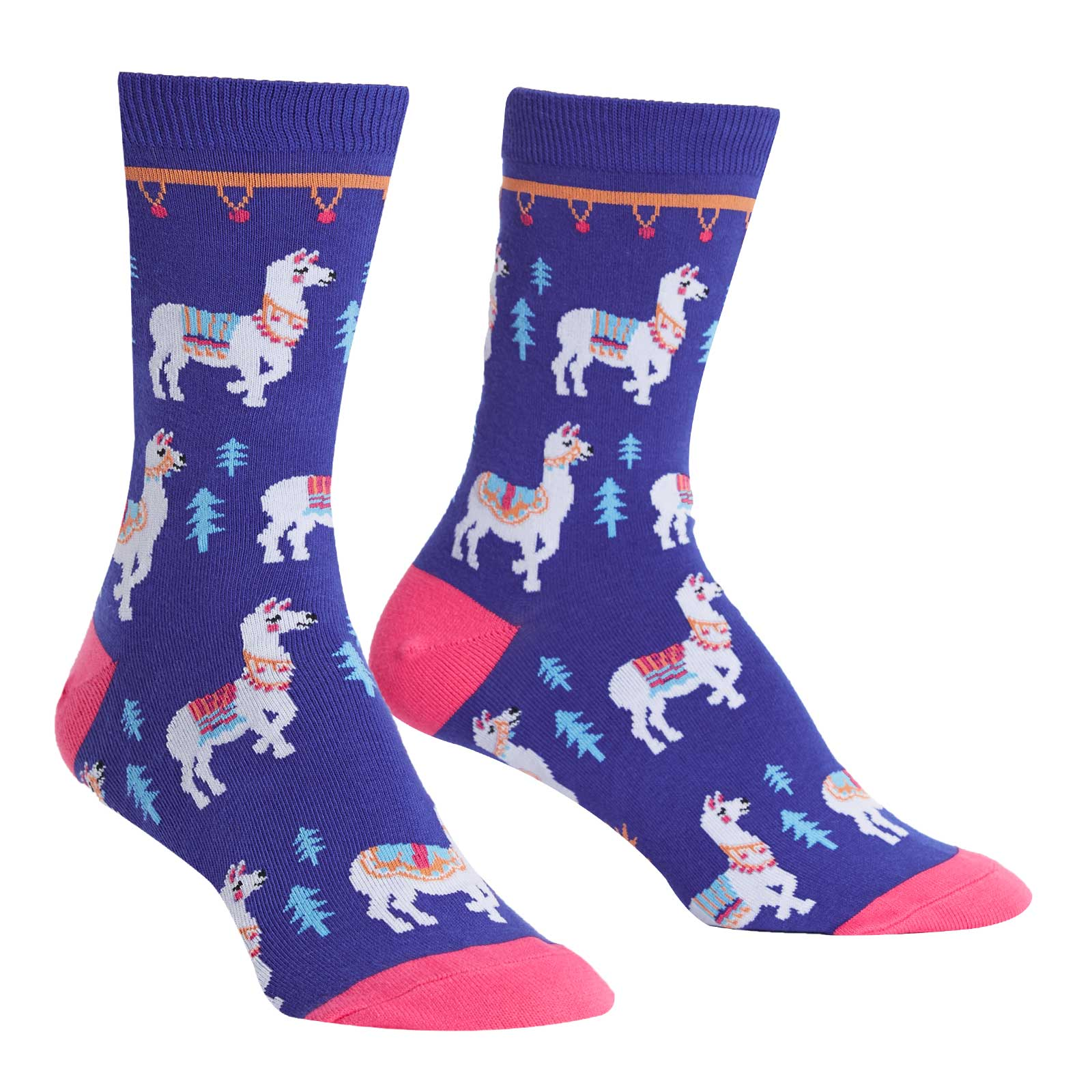 Cute llama socks for women with lllamas decorated in fancy blankets, pompoms and ribbons.