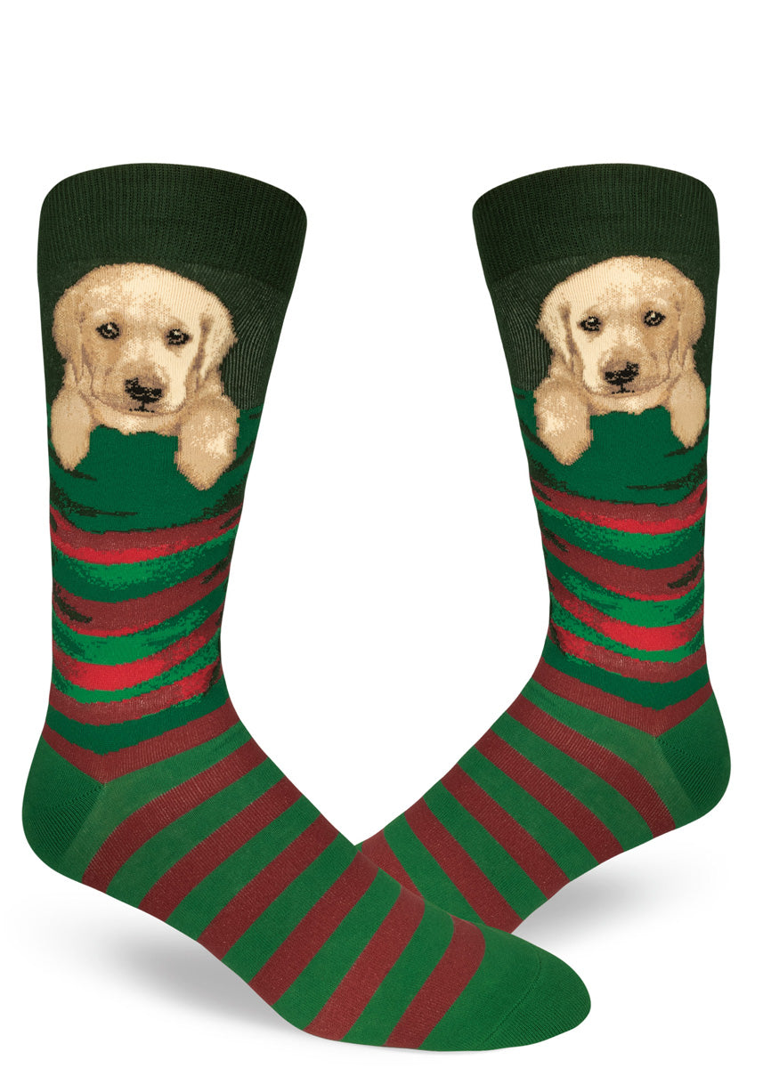 3cbe720de839 Adorable Christmas socks for men with yellow Labrador puppies in Christmas  stockings.