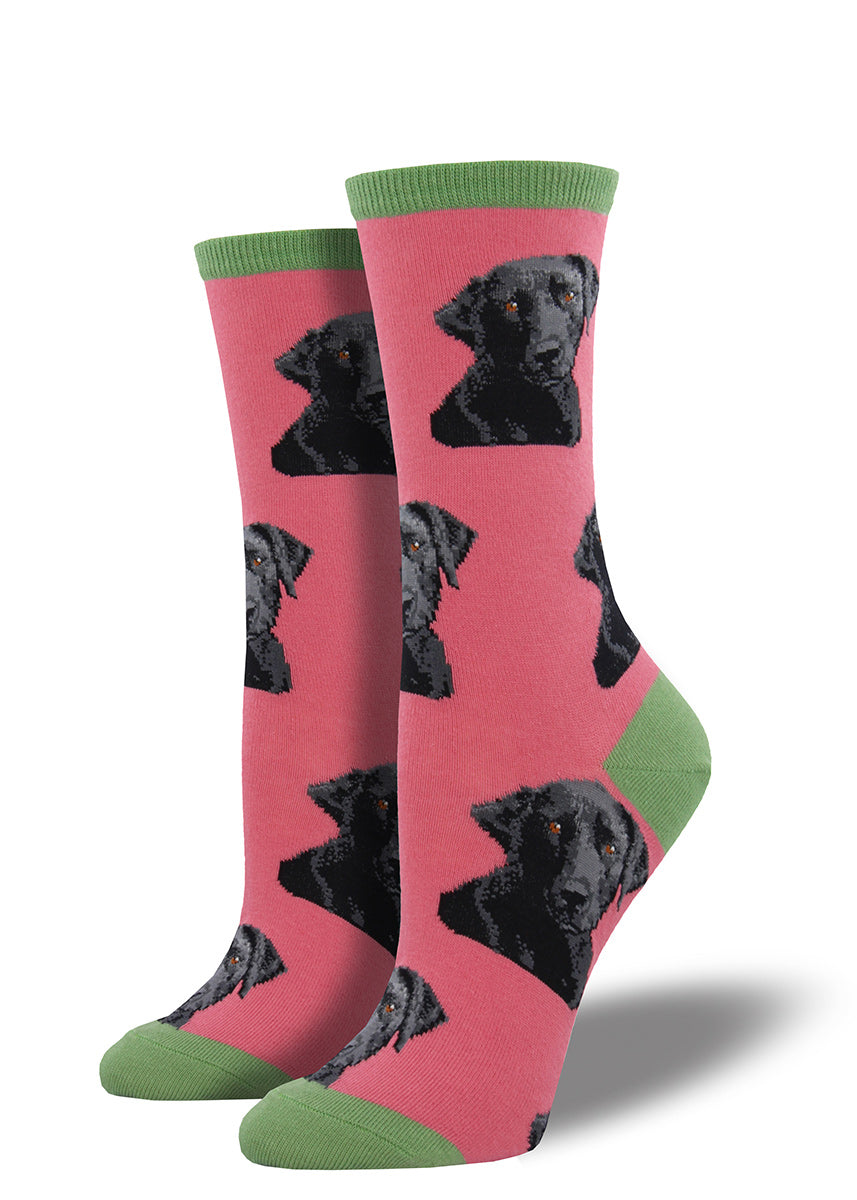 Cute lab dogs look up at you lovingly on this women's crew sock.