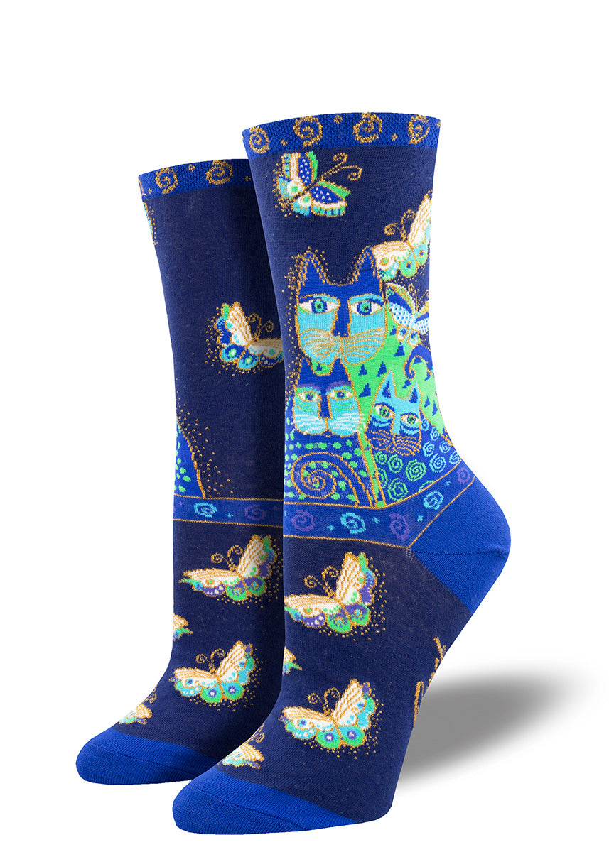 Blue cat socks for women with butterflies based on art by Laurel Burch
