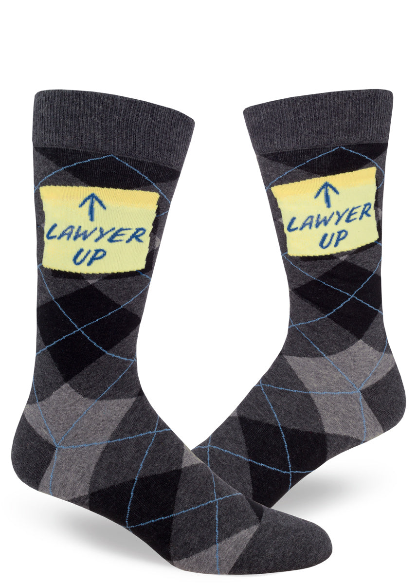 "Lawyer socks for men with gray argyle and the words ""Lawyer Up"" on a sticky note"