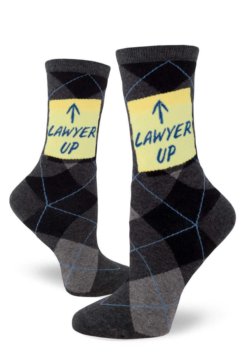 "Funny lawyer socks for women with argyle pattern and ""Lawyer Up"" saying"