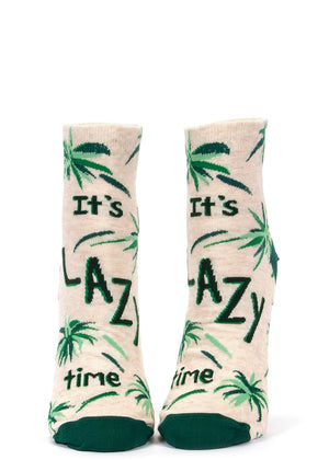 "These funny ankle socks for women say, ""It's lazy time."""