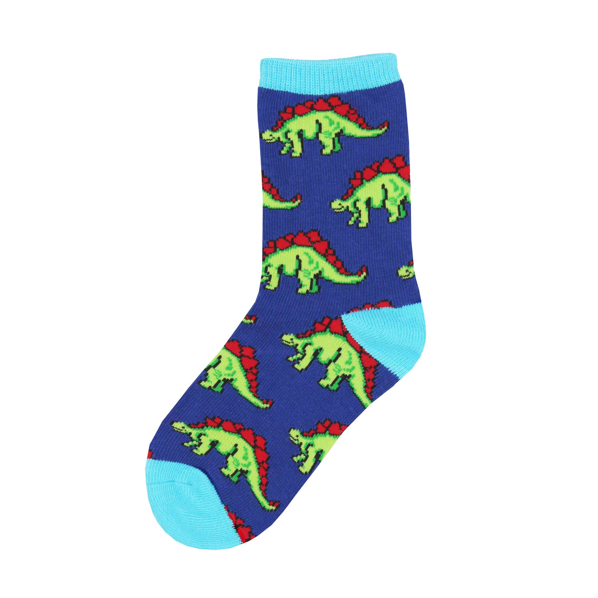 Green and red stegosaurus march across these blue kids' dinosaur socks.