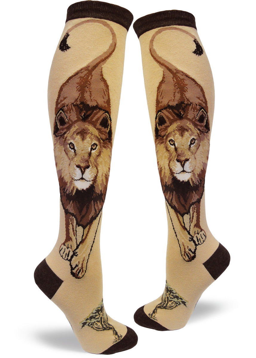 Knee-high socks with lions on a tan background for women