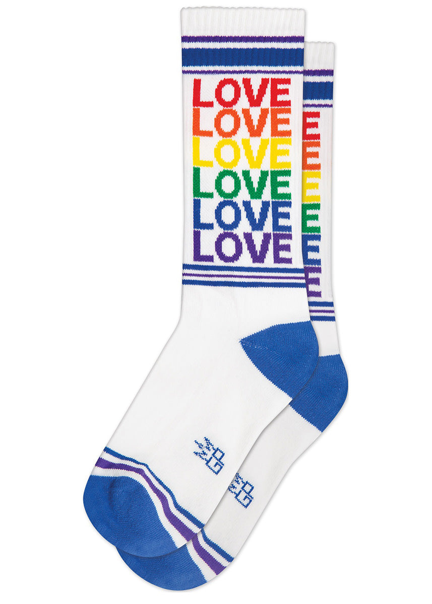 "Retro gym socks say the word ""LOVE"" repeated in every color of the rainbow."