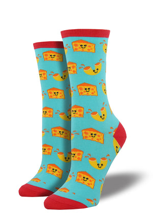 Macaroni and cheese socks for women with happy noodles and chunks of cheese