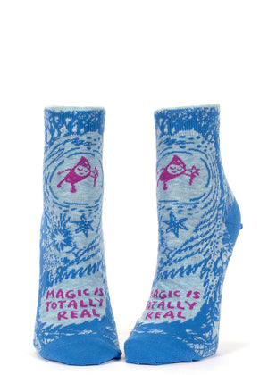 "A magician and the words ""Magic is totally real"" on ankle socks for women."