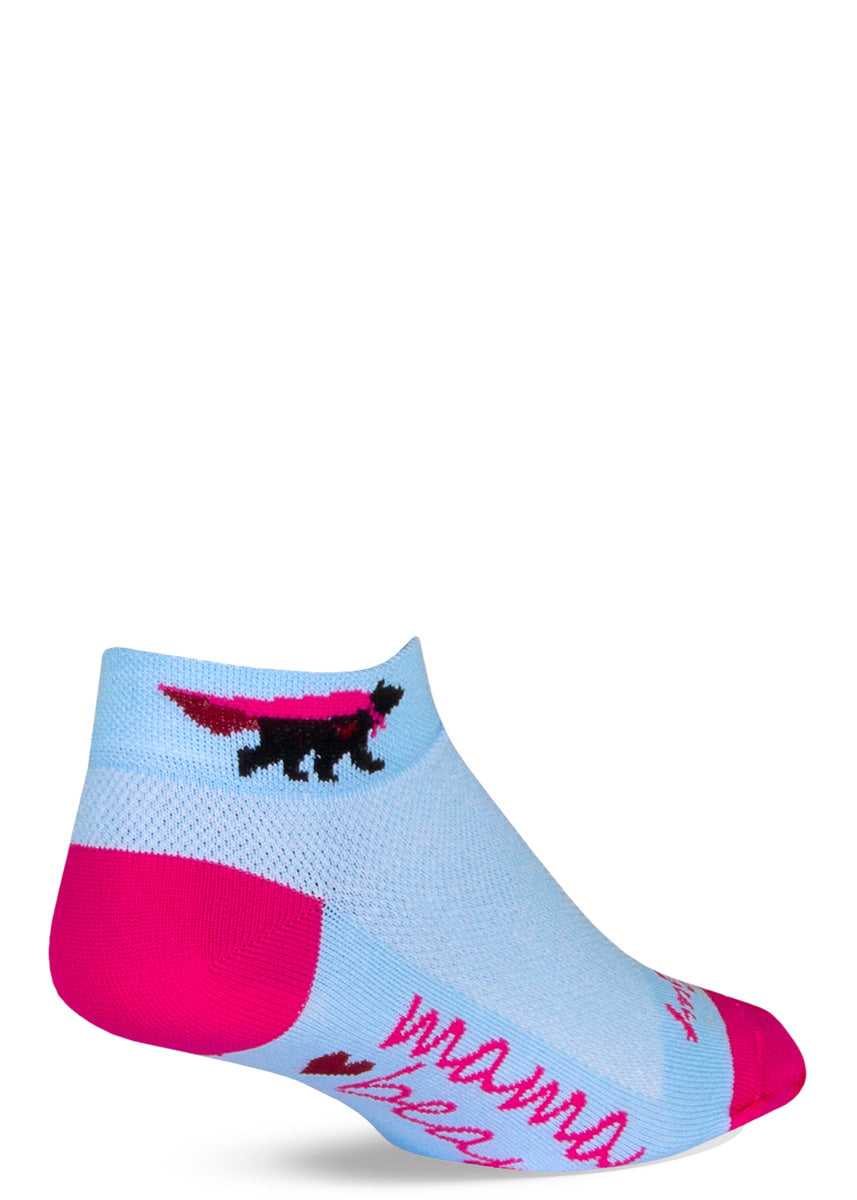 "Light blue athletic ankle socks for women show a bear wearing a cape on the cuff and say ""Mama Bear"" on the bottom of the foot."