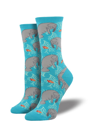 Make some waves in these manatee socks!