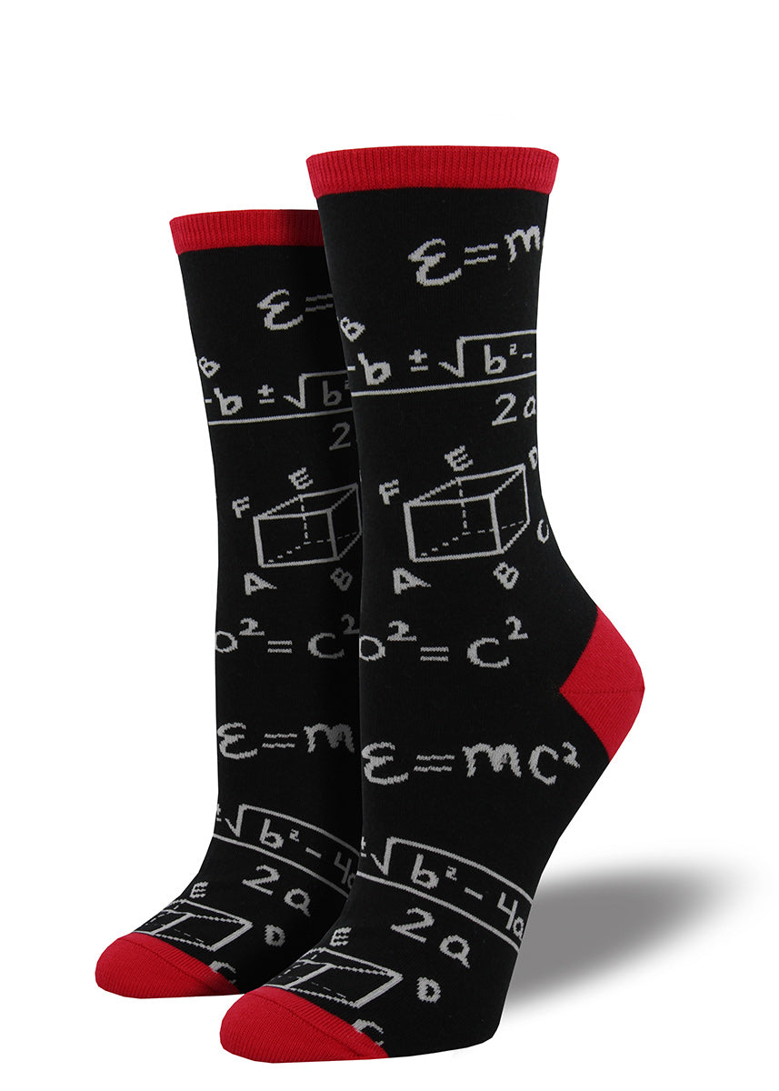 Give your brain a workout with these radical, mathematical socks that look like  a mathematician's chalkboard.