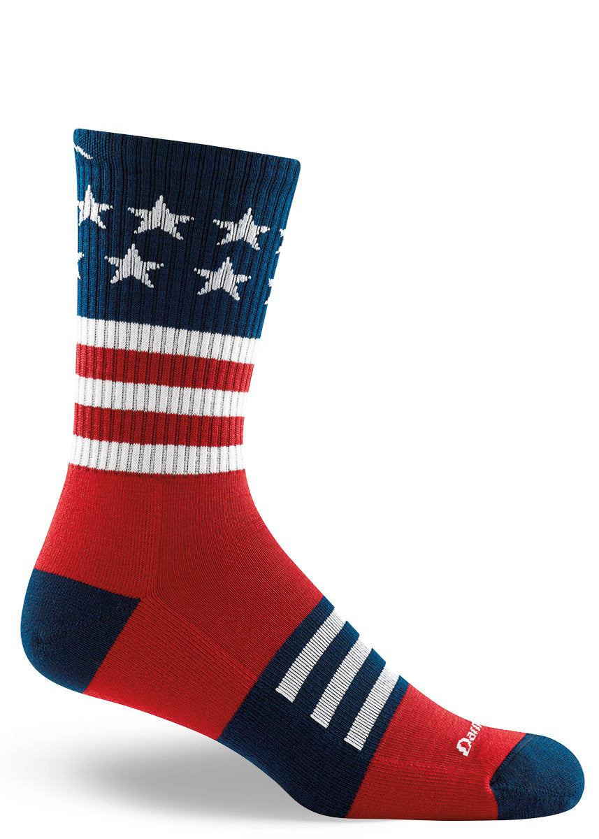 Cushioned wool socks for men that look like the American flag.