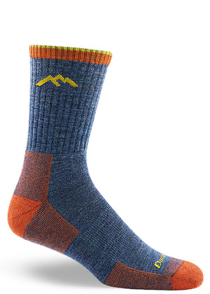Denim hiking socks for men with thick and cushy soles and bright orange and blue colors