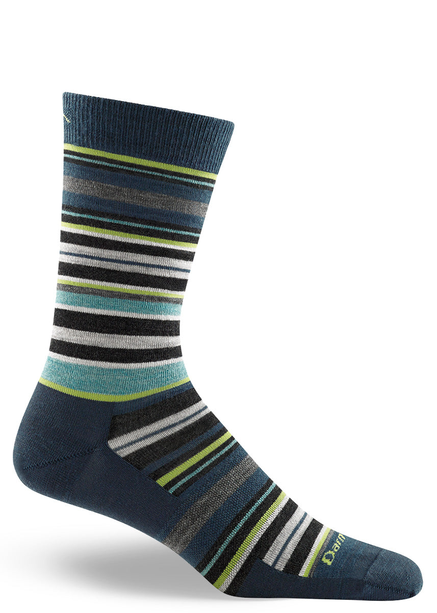 Wool socks for men with thin stripes in shades of blue, green, and gray.