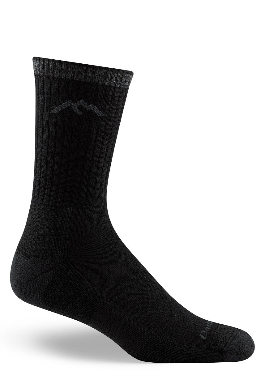 Black wool hiking socks for men come in a micro-crew length and feature a cushioned footbed.