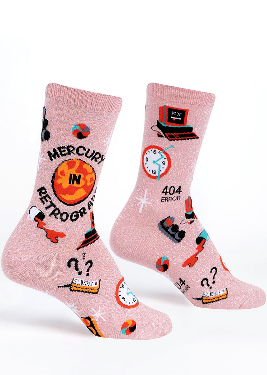 Funny glitter socks for women feature Mercury in retrograde with all the accompanying mishaps: spilled coffee, technology failures, red lights and more!