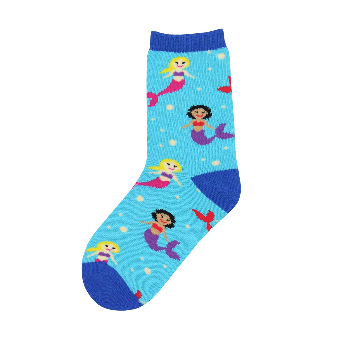 These kids' socks are covered in ethnically diverse mermaids living in harmony under the sea.