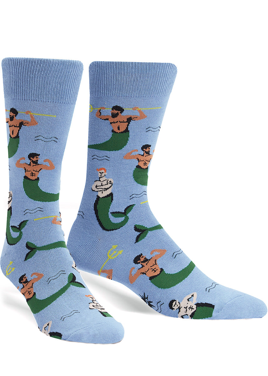 Funny mermen socks for men with male mermaids by Sock It To Me.