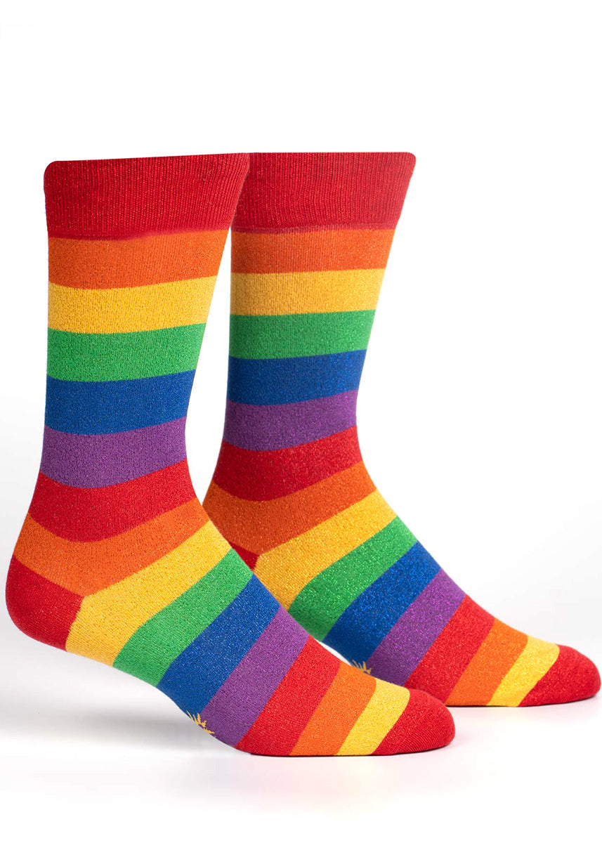 Crew socks for men feature sparkling metallic rainbow stripes.