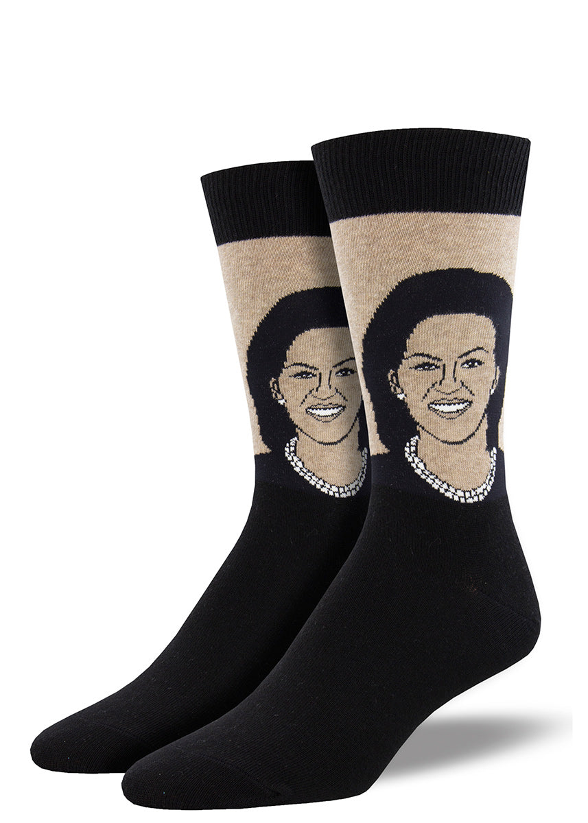 Crew socks for men feature a portrait of Michelle Obama.