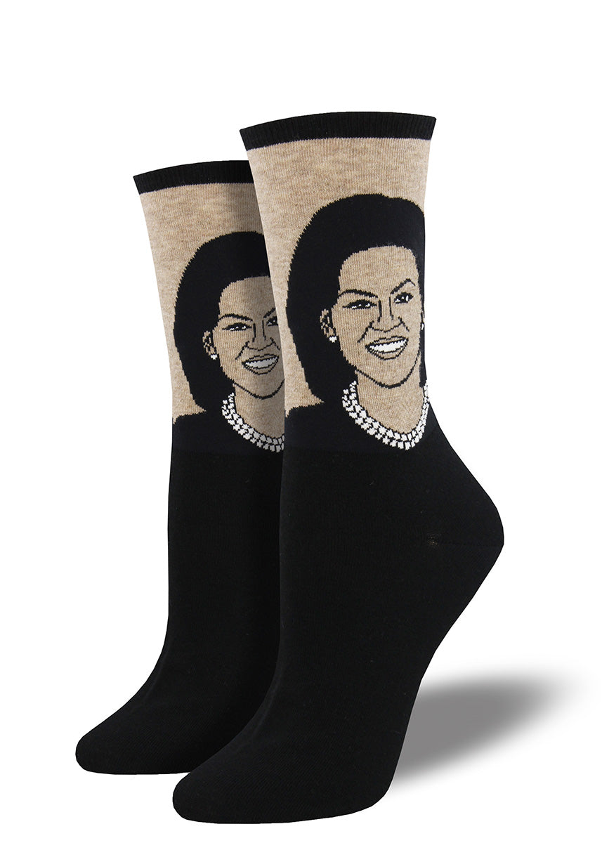 Michelle Obama socks for women with the former FLOTUS's face!