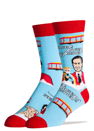 Mister Rogers socks with Fred Rogers, Daniel Tiger and King Friday