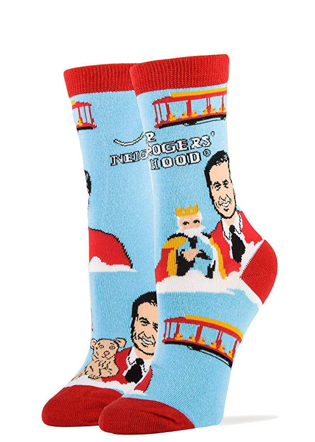 Cute Mister Rogers socks with Fred Rogers, puppets and the red trolley