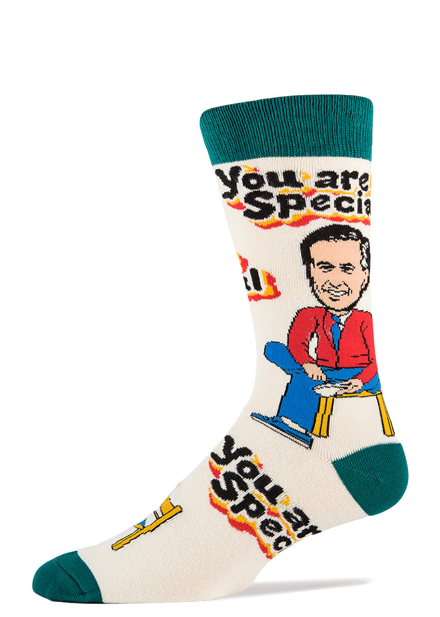 "Mister Rogers socks that say ""You Are Special"" for men"