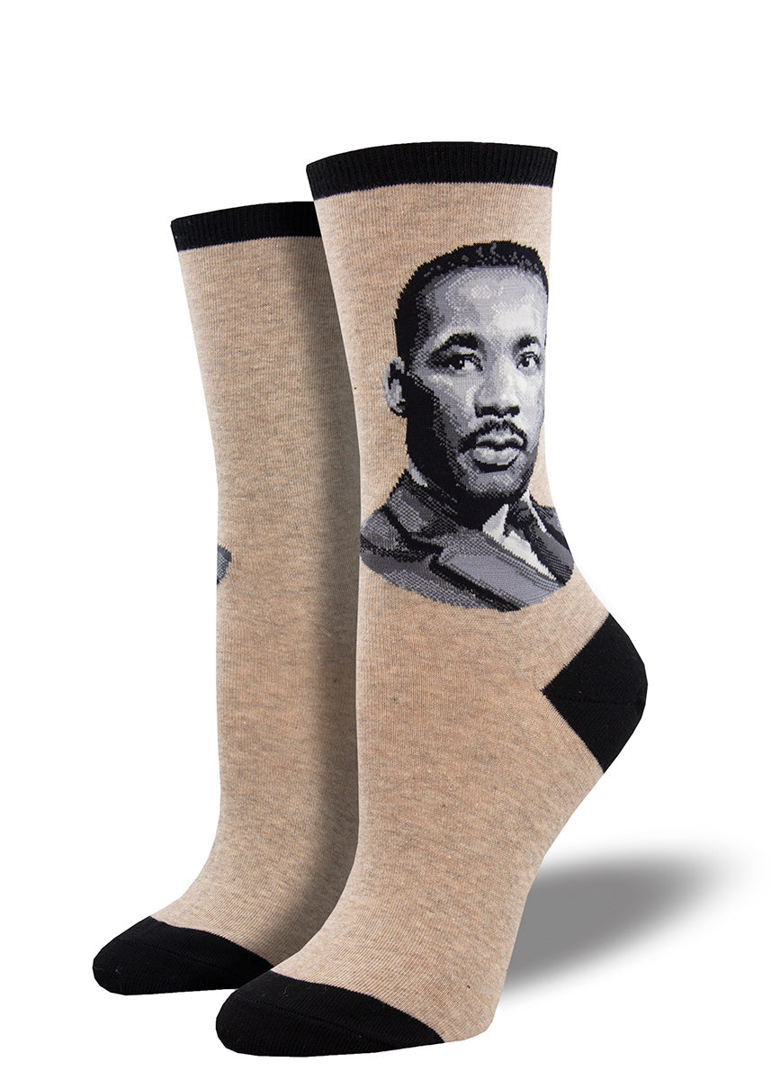 Crew socks for women feature a portrait of civil rights leader Martin Luther King Jr. with his signature on the bottom of the foot.