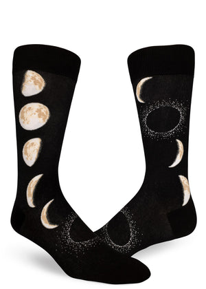 Moon socks for men with moon phases on a black background.
