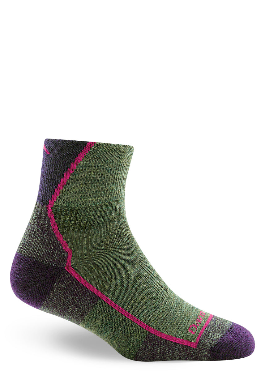 Green wool socks for women in quarter length with cushion for hiking.