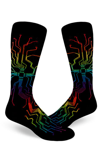 Nerdy rainbow computer circuit socks for men