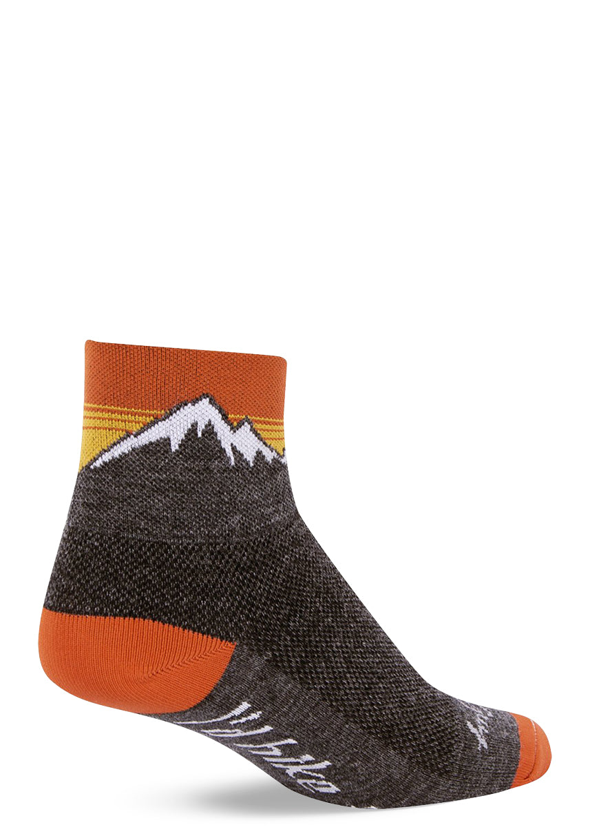 "Hiking socks with mountains and the words ""I'd Hike That"" on wool ankle socks for men and women"
