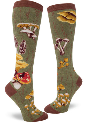 Knee-high mushroom socks with different mushrooms on a green background