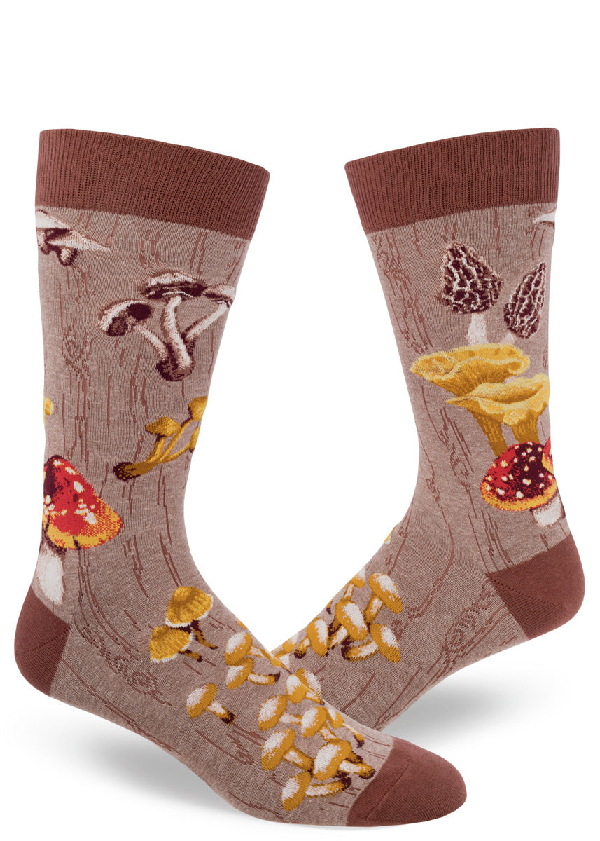 Mushroom socks for men with different mushrooms on a brown background